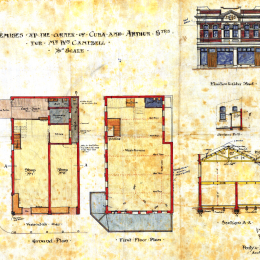 Architectural plans for William Campbell's Oriental Tea Mart, 1907.