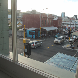 View of Cuba Street form upstairs hall window, 2016.