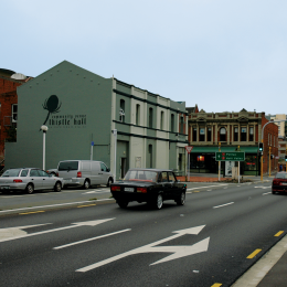 Thistle Hall, looking east along Arthur Street, 2007.