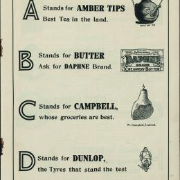 'C stands for Campbell, whose groceries are best.' From The Rhyming Trades Alphabet, educational advertising booklet c. 1914.