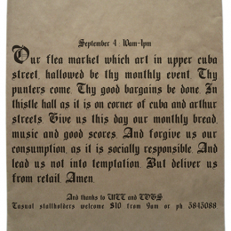 The ever-changing brown paper bag, monthly flea market posters, 2002-2004.