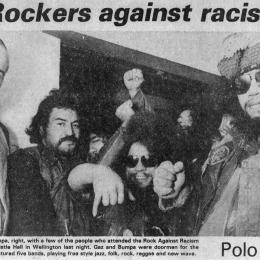 Gaz (left) and Bump(right) manned the door at 'Rock against Racism', featured on the front page of the Dominion, 3rd July 1981.