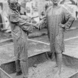 Johanna Sanders and Val Smith in a mud-wrestling anti-bypass performance, 1994.