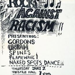 Handmade poster advertising one of three 'Rock against Racism' gigs at Thistle Hall in 1981.