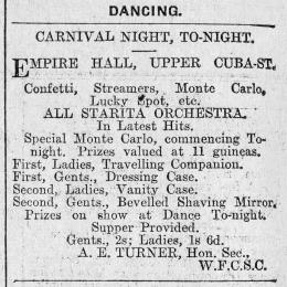 The social committee of the Watersiders' Football Club carnival-themed dance advertisement in the Evening Post, 1927.