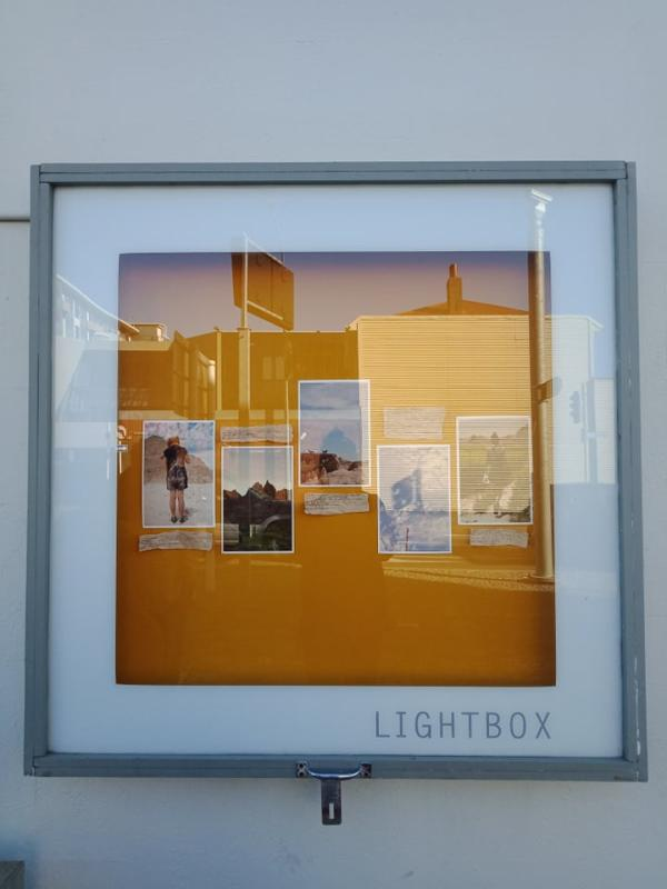 a persson, artwork in lightbox