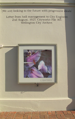 Lightbox from outside on Arthur Street, artwork by Lee Jenson