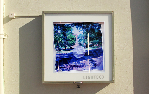 Lightbox lit up at night, artwork by Kate Adolph